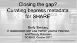 Closing the gap? Curating bepress metadata for SHARE by Emily Stenberg, Lisa Palmer, Joanne Paterson, and Wendy Robertson