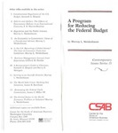 A Program for Reducing the Federal Budget