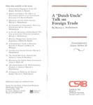 "A ""Dutch Uncle"" Talk on Foreign Trade"